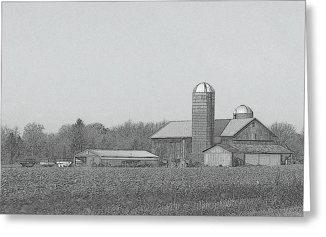 Outbuildings Drawings Greeting Cards - Farm Of Newaygo County Michigan Greeting Card by Rosemarie E Seppala
