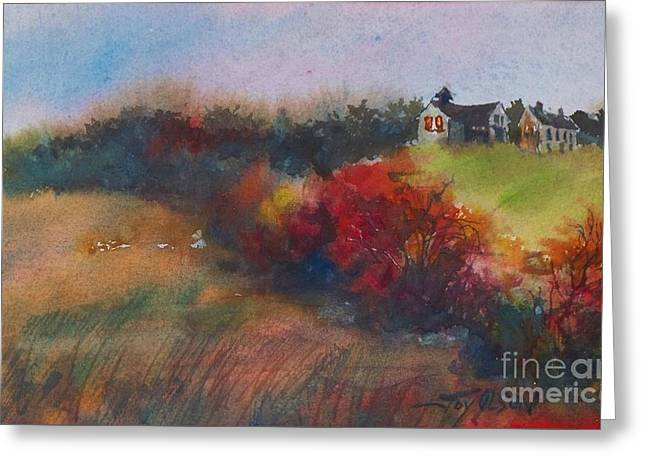 Farm On The Hill At Sunset Greeting Card by Joy Nichols