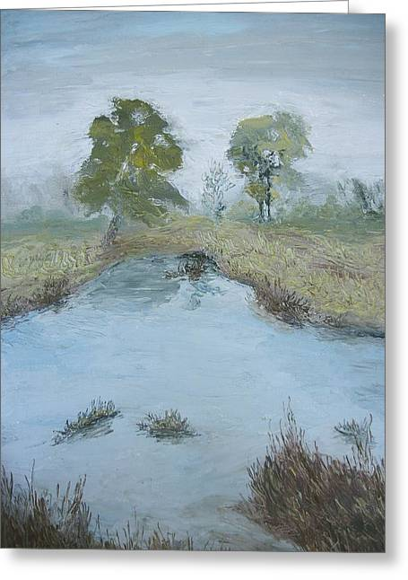Dwayne Gresham Paintings Greeting Cards - Farm Pond Greeting Card by Dwayne Gresham