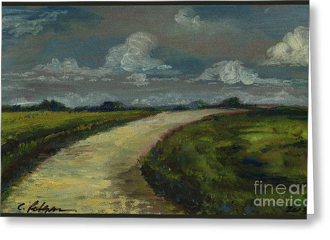 Ventura California Greeting Cards - Farm Road in Poland. 2013 Greeting Card by Cathy Peterson