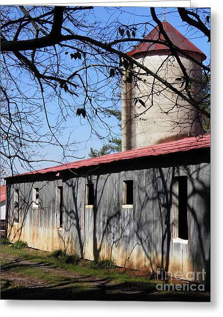 Red Roofed Barn Greeting Cards - Farm Shadows Greeting Card by Amy Stuart Langlo