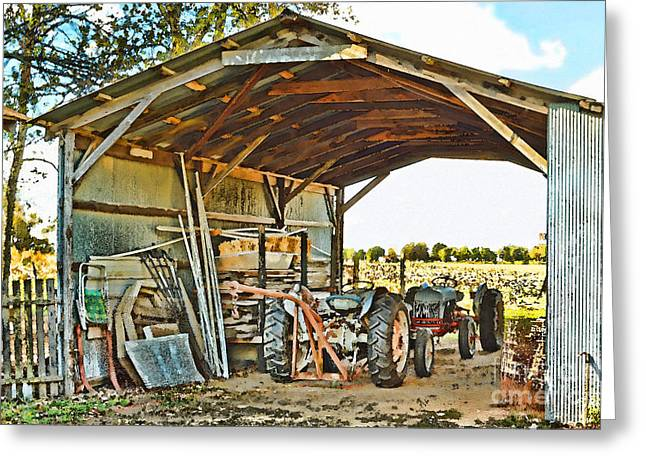 Phot Art Greeting Cards - Farm Shed Digital watercolor Greeting Card by Debbie Portwood