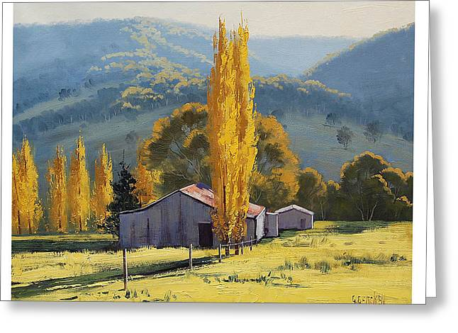 Shed Paintings Greeting Cards - Farm sheds Painting Greeting Card by Graham Gercken