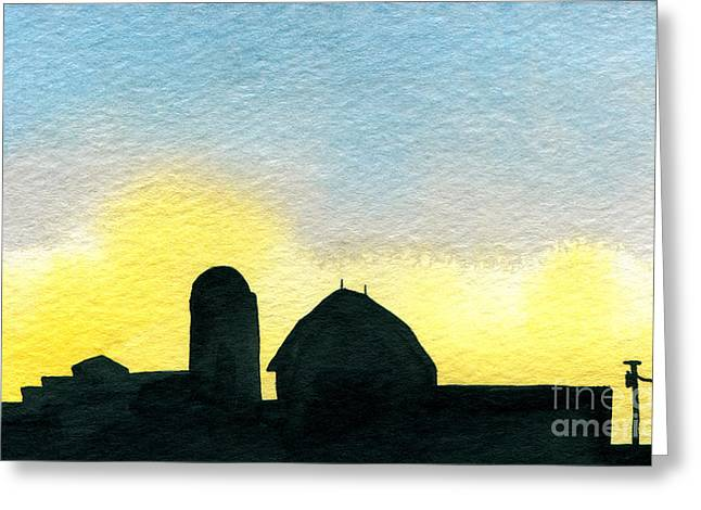 Indiana Scenes Paintings Greeting Cards - Farm Silhouette 1 Greeting Card by R Kyllo