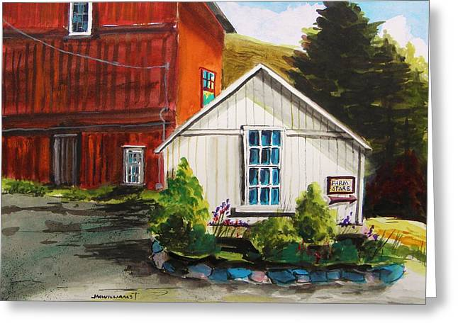 Farm Stand Drawings Greeting Cards - Farm Store Greeting Card by John  Williams