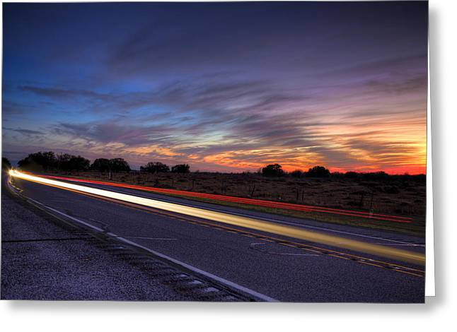 Goff Greeting Cards - Farm to Market Sunset Greeting Card by Micah Goff