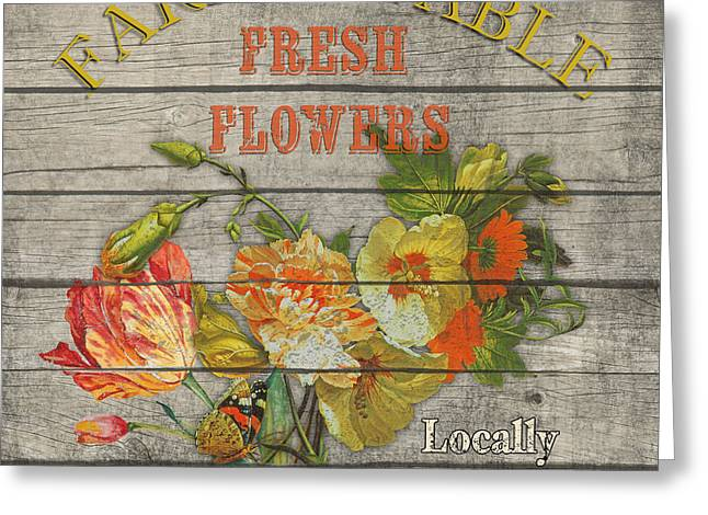 Locally Grown Digital Art Greeting Cards - Farm to Table Flowers-JP2633 Greeting Card by Jean Plout