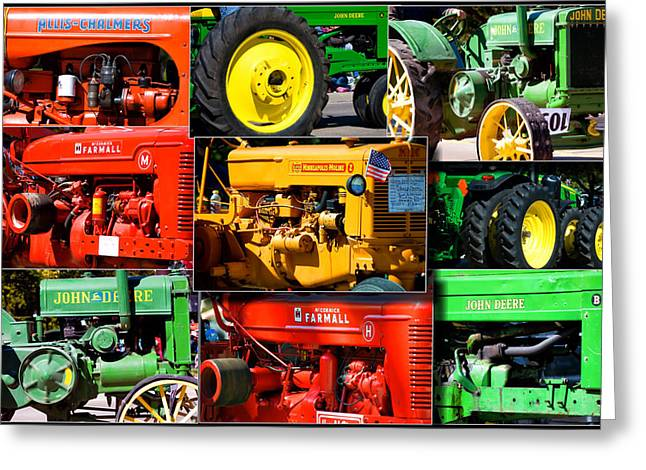 Coller Greeting Cards - Farm Tractor Collage Rectangle Greeting Card by Thomas Woolworth