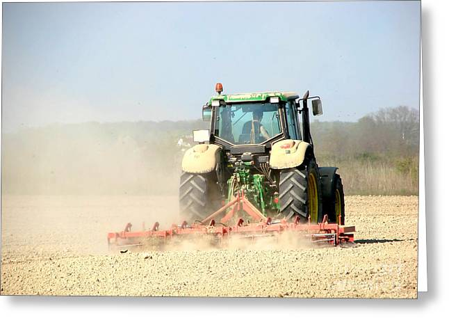Farmers Field Greeting Cards - Farm tractor Greeting Card by Dan Radi