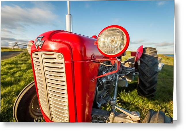 Rural Architecture Greeting Cards - Farm Tractor, Flatey Island Greeting Card by Panoramic Images