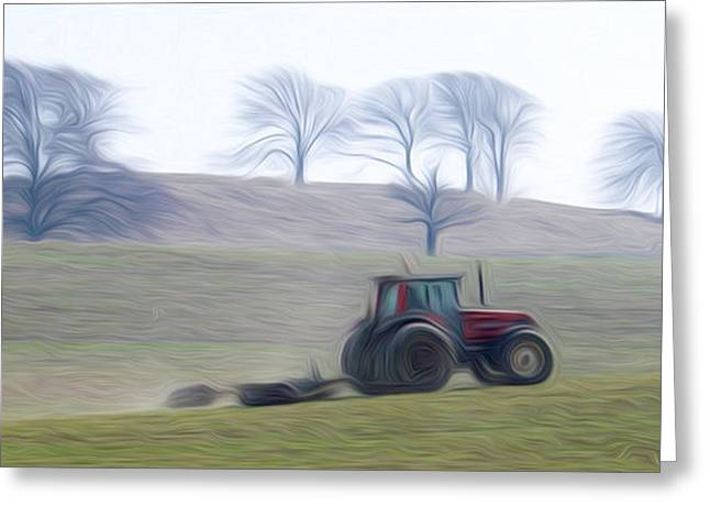Star Pyrography Greeting Cards - Farm tractor Greeting Card by Stefan Petrovici