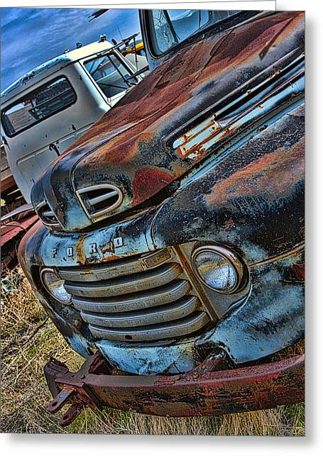 Bone Pile Greeting Cards - Farm Truck Greeting Card by Jerry Hetrick