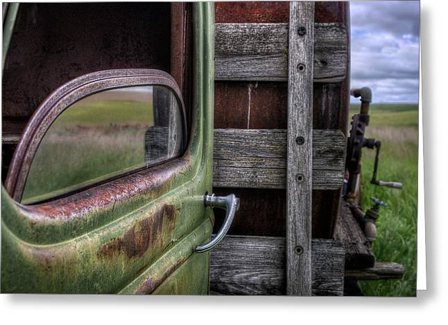 Wooden Stake Greeting Cards - Farm Truck Greeting Card by Nikolyn McDonald