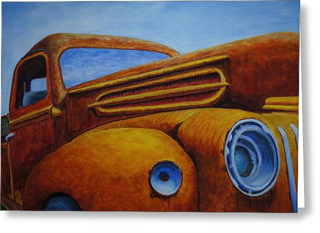Classic Pickup Paintings Greeting Cards - Farm Truck Greeting Card by Xochi Hughes Madera