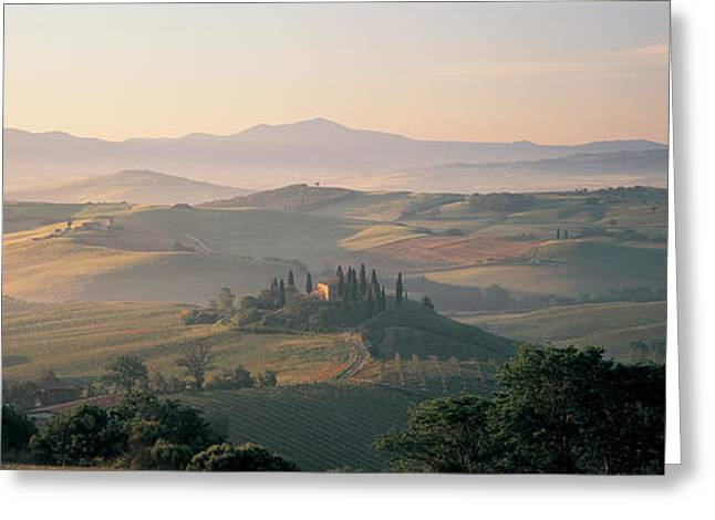 Haze Greeting Cards - Farm Tuscany Italy Greeting Card by Panoramic Images