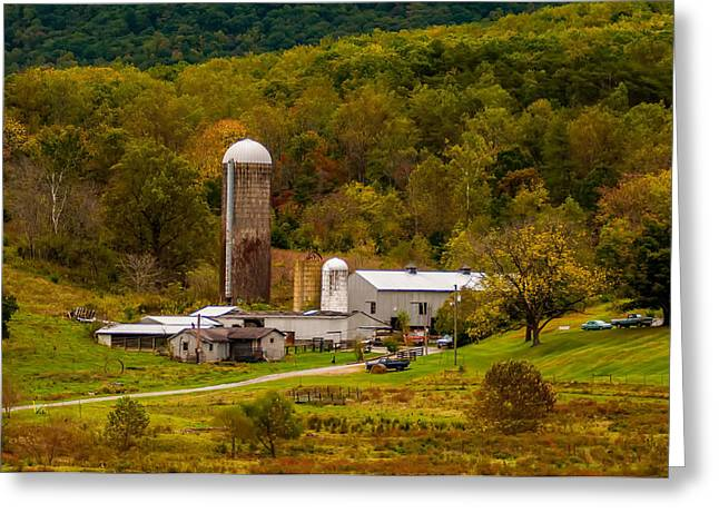 Bedford Hills Greeting Cards - Farm View With Mountains Landscape Greeting Card by Alexandr Grichenko
