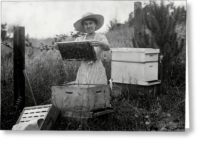 Beekeepers Greeting Cards - FARM WIFE BEEKEEPER 19th century Greeting Card by Daniel Hagerman