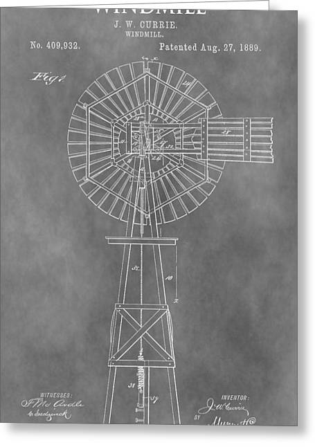 Windy Drawings Greeting Cards - Farm Windmill Patent Greeting Card by Dan Sproul