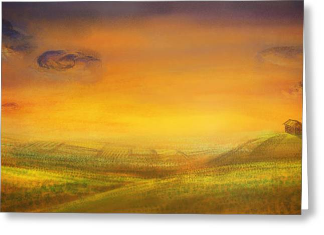 Mythja Greeting Cards - Farm with crops - original painting Greeting Card by Mythja  Photography