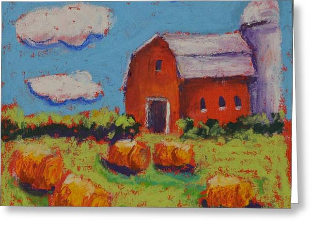 Bale Pastels Greeting Cards - Farm With Puffy Clouds Greeting Card by Pat Olson