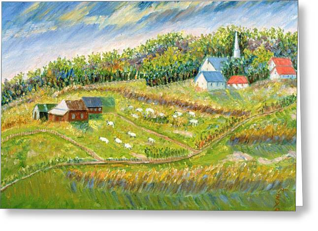 Patricia Greeting Cards - Farm with Sheep Greeting Card by Patricia Eyre