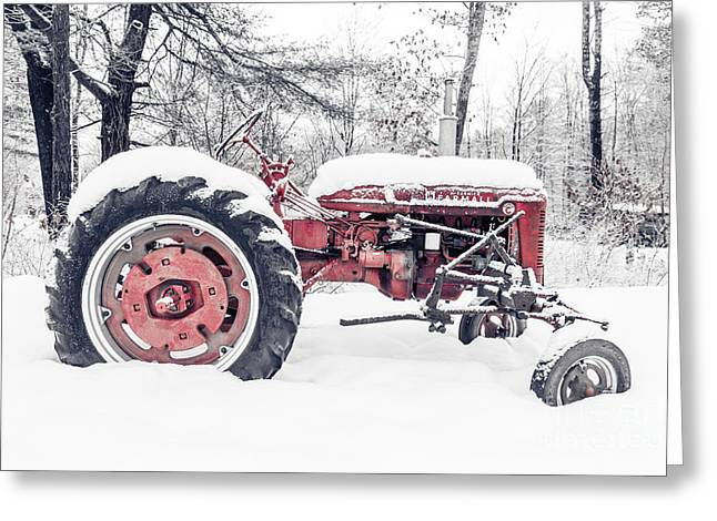 Rural Landscapes Greeting Cards - Farmall Super C Tractor in Winter Greeting Card by Edward Fielding