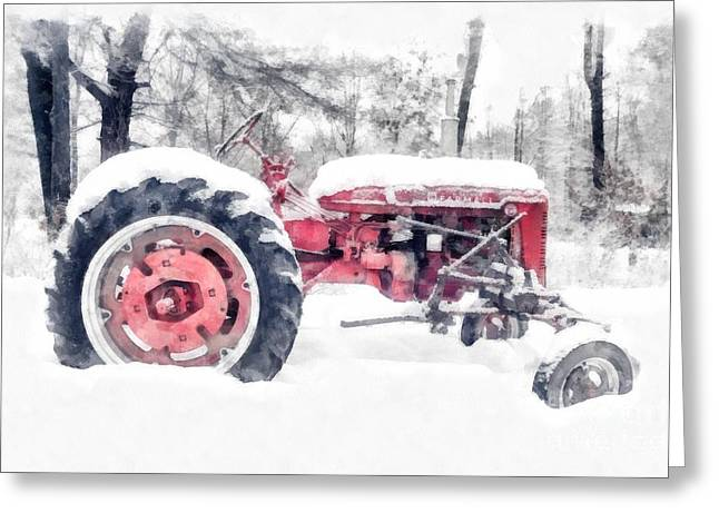 Rural Landscapes Greeting Cards - Farmall Super C Tractor in Winter Watercolor Greeting Card by Edward Fielding