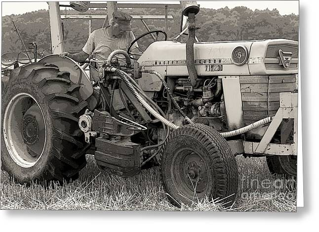 Old Western Photos Digital Art Greeting Cards - Farmer And His Tractor Greeting Card by Kathleen Struckle