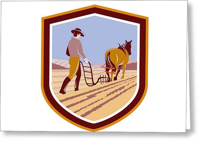 Farmers Field Digital Art Greeting Cards - Farmer and Horse Plowing Farm Field Crest Retro Greeting Card by Aloysius Patrimonio