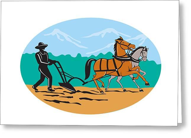 Farmers Field Digital Art Greeting Cards - Farmer and Horses Plowing Field Cartoon Greeting Card by Aloysius Patrimonio