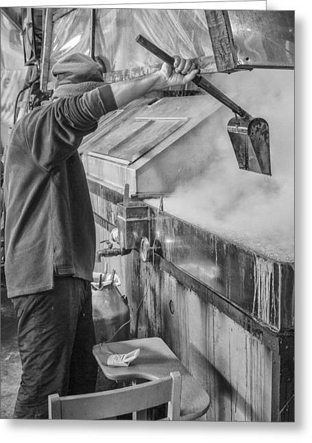 Shelburne Greeting Cards - Vermont Farmer Maple Syrup steam black and white  Greeting Card by Andy Gimino