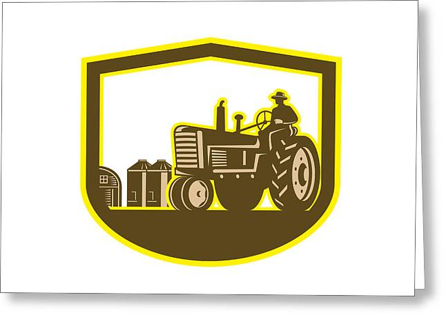 Driving Machine Greeting Cards - Farmer Driving Tractor Plowing Farm Shield Retro Greeting Card by Aloysius Patrimonio
