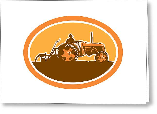 Driving Machine Greeting Cards - Farmer Driving Vintage Farm Tractor Oval Retro Greeting Card by Aloysius Patrimonio