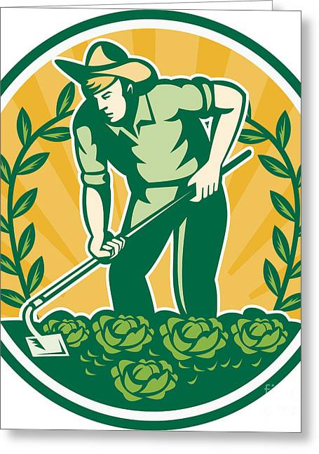 Farmer Gardener With Garden Hoe Cabbage Greeting Card by Aloysius Patrimonio