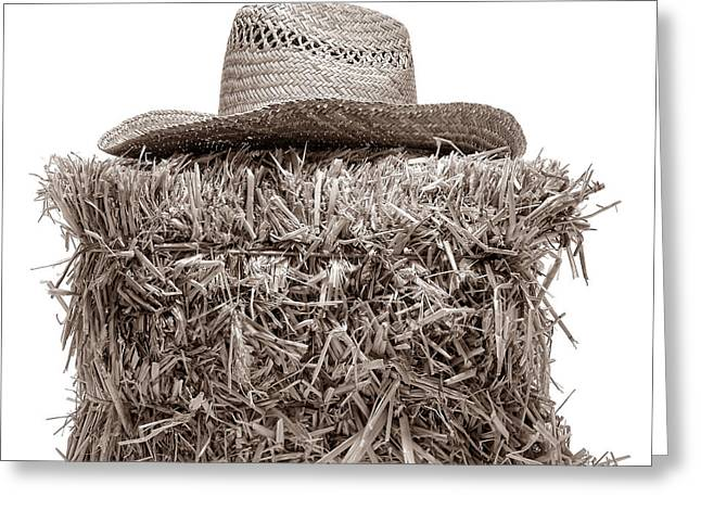 Bale Greeting Cards - Farmer Hat on Hay Bale Greeting Card by American West Legend By Olivier Le Queinec