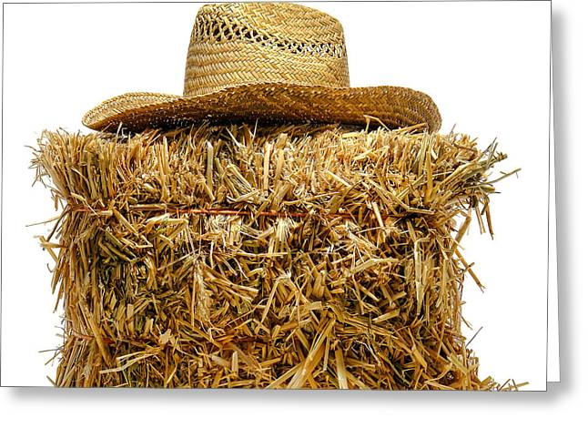Bales Greeting Cards - Farmer Hat on Hay Bale Greeting Card by Olivier Le Queinec