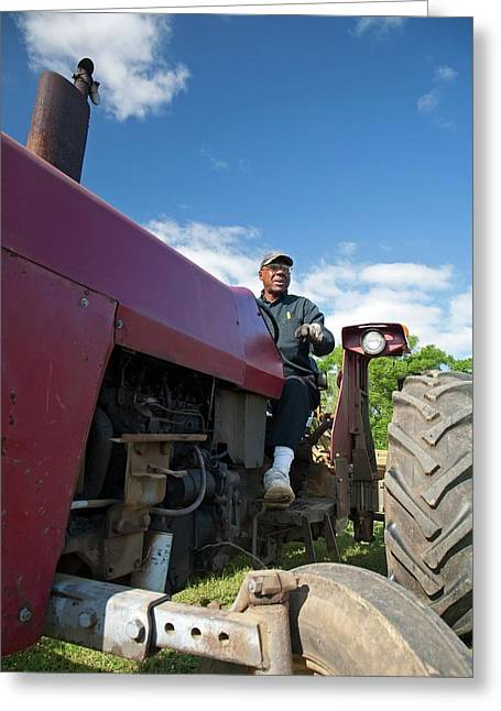 Farmer On A Tractor Greeting Card by Jim West