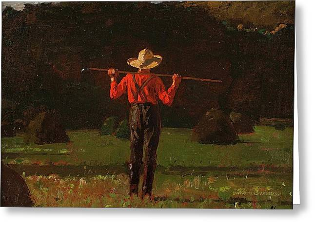 Pitchfork Greeting Cards - Farmer with a Pitchfork 1874 Greeting Card by Winslow Homer
