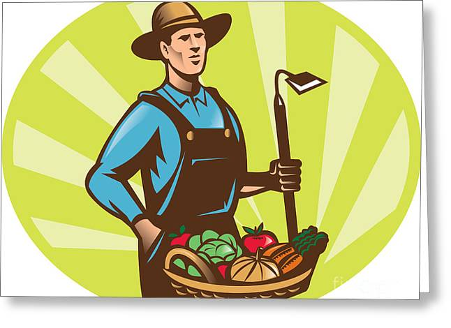 Lettuce Digital Greeting Cards - Farmer With Garden Hoe And Basket Crop Harvest Greeting Card by Aloysius Patrimonio