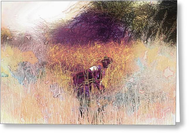 Farmers Field Greeting Cards - Farmers Fields Harvest India Rajasthan 5 Greeting Card by Sue Jacobi