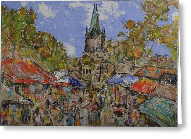 French Open Paintings Greeting Cards - Farmers Market at a French Village Greeting Card by Jorge Garza