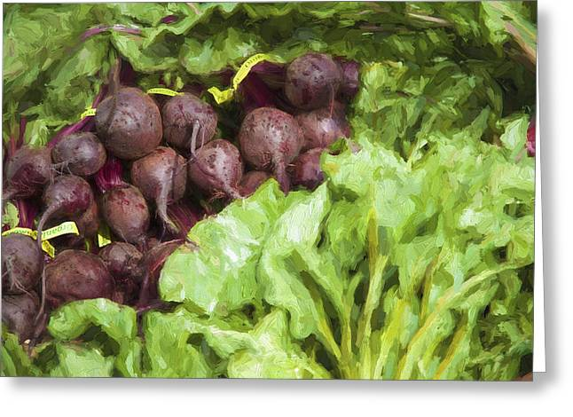 Farmers Market Greeting Cards - Farmers Market Beets and Greens Greeting Card by Carol Leigh