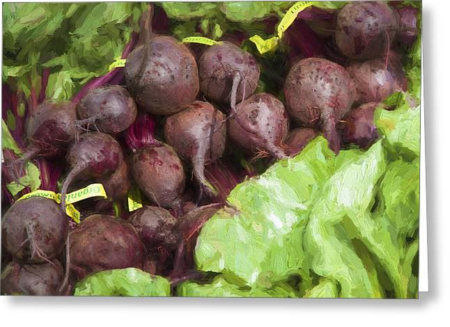 Produce Digital Art Greeting Cards - Farmers Market Beets and Greens Square Greeting Card by Carol Leigh