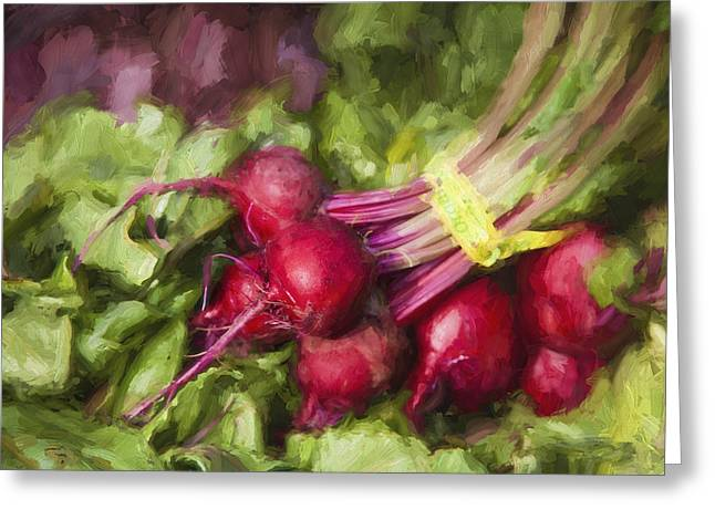 Farmers Markets Greeting Cards - Farmers Market Beets Greeting Card by Carol Leigh
