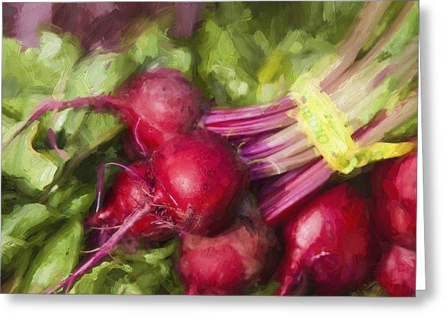 Farmers Market Greeting Cards - Farmers Market Beets Square Format Greeting Card by Carol Leigh