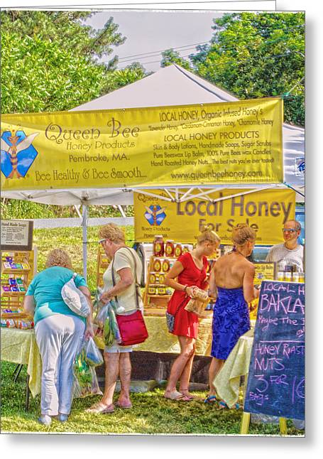 Local Food Greeting Cards - Farmers Market Busy Bees Greeting Card by Constantine Gregory
