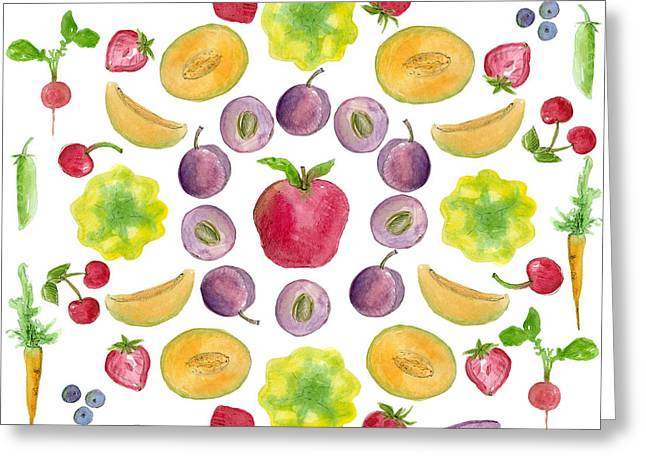 Watermelon Drawings Greeting Cards - Farmers Market Greeting Card by Cathie Richardson