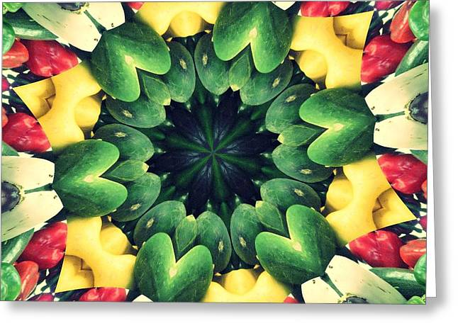 Farmstand Digital Art Greeting Cards - FARMERS MARKET Collide-a-Scope Greeting Card by Sue  Thomson