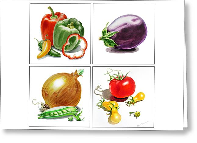 Pepper Paintings Greeting Cards - Farmers Market Delight  Greeting Card by Irina Sztukowski