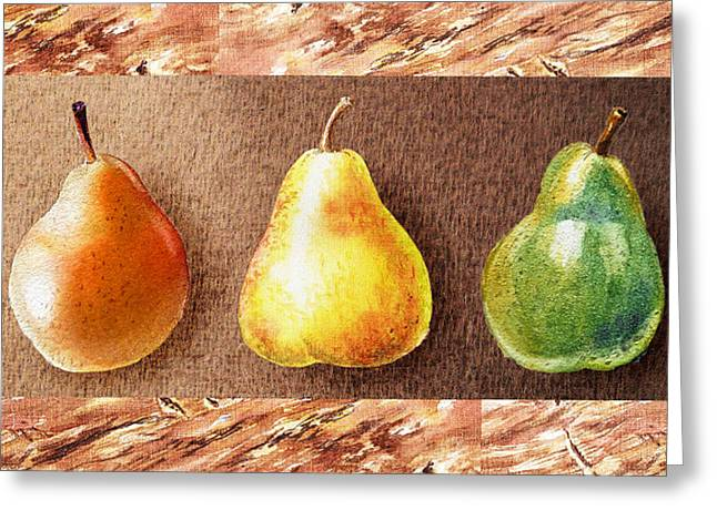 Brown Pears Greeting Cards - Farmers Market Drive Through Red Yellow And Green Pear Greeting Card by Irina Sztukowski